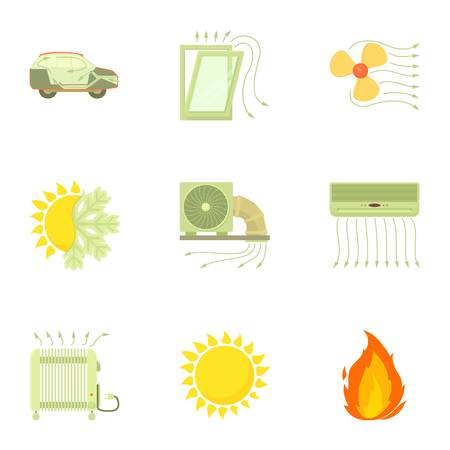 Airflow icons set. Cartoon set of 9 airflow vector icons for web isolated on white background Иллюстрация
