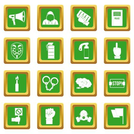 Protest icons set in green color isolated vector illustration for web and any design Illustration