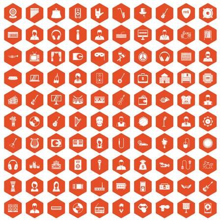 operetta: 100 music icons set in orange hexagon isolated vector illustration Illustration