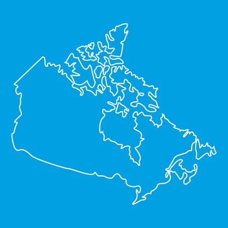 Map of Canada icon blue outline style isolated vector illustration. Thin line sign