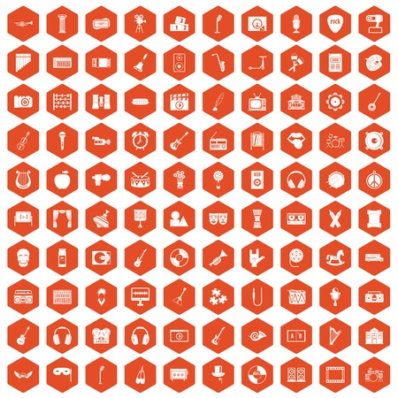 mirror frame: 100 musical education icons set in orange hexagon isolated vector illustration Illustration