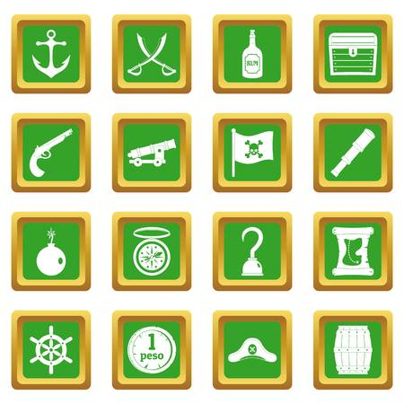 cocked hat: Pirate icons set in green color isolated vector illustration for web and any design