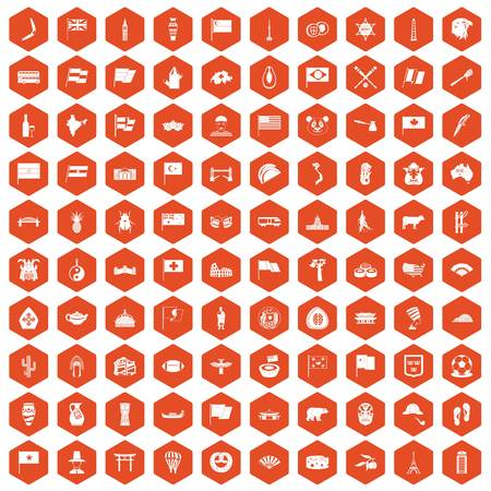 national fruit of china: 100 national flag icons set in orange hexagon isolated vector illustration