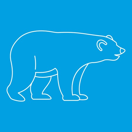 colorado rocky mountains: Bear icon blue outline style isolated vector illustration. Thin line sign