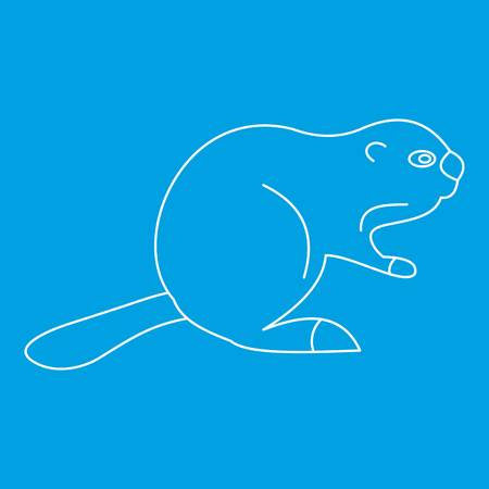 Beaver icon blue outline style isolated vector illustration. Thin line sign Illustration