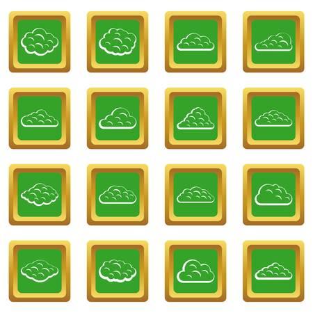 Wolkenpictogrammen in groene kleur geïsoleerde vectorillustratie voor Web en om het even welk ontwerp worden geplaatst dat