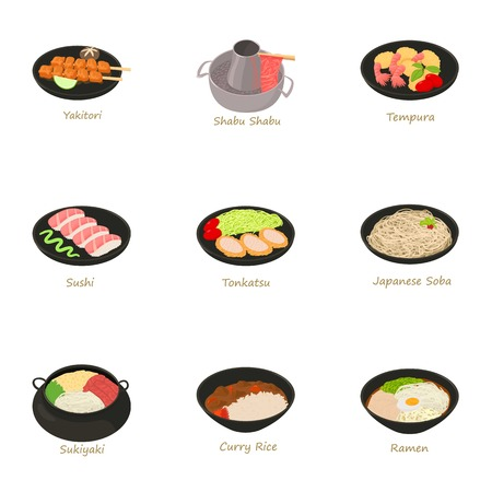parts icons set. Cartoon set of 9 parts vector icons for web isolated on white background