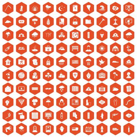 cross match: 100 natural disasters icons set in orange hexagon isolated vector illustration