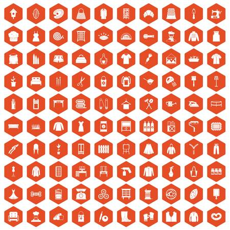 100 needlework icons set in orange hexagon isolated vector illustration