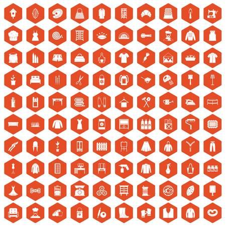 100 needlework icons set in orange hexagon isolated vector illustration
