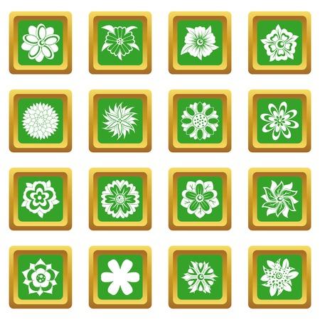 녹색 및 파랑에서 다른 꽃 아이콘 설정 웹 및 모든 디자인을위한 격리 된 벡터 일러스트 레이 션