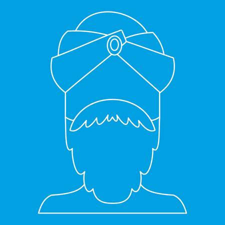 Indian man icon blue outline style isolated vector illustration. Thin line sign Illustration