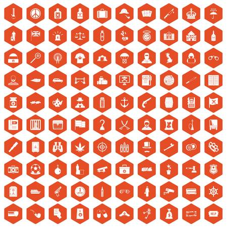 100 offence icons set in orange hexagon isolated vector illustration