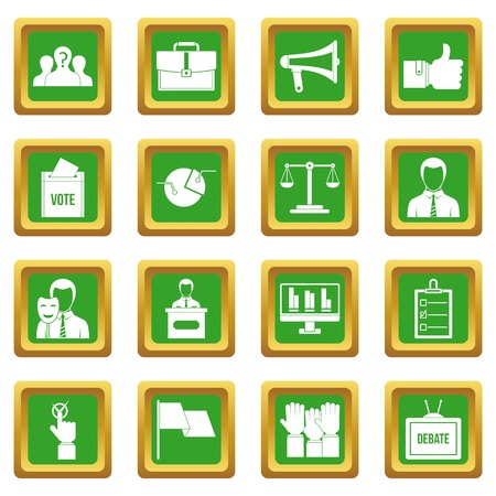 calendar icon: Election voting icons set in green color isolated vector illustration for web and any design Illustration