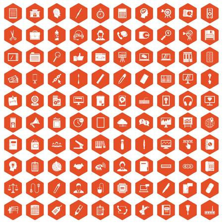 office stapler: 100 office work icons set in orange hexagon isolated vector illustration