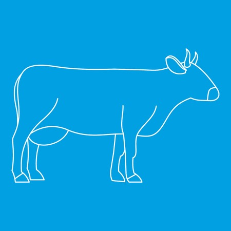 Cow icon blue outline style isolated vector illustration. Thin line sign