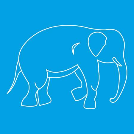 Elephant icon blue outline style isolated vector illustration. Thin line sign