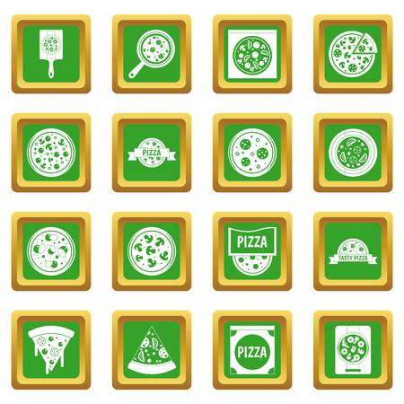 supper: Pizza icons set in green color isolated vector illustration for web and any design Illustration
