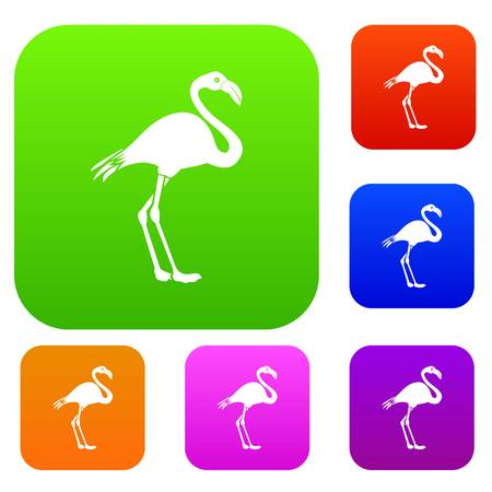 animal head: Flamingo set icon in different colors isolated vector illustration. Premium collection