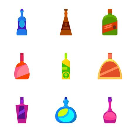wineglass: Different bottle icons set. Cartoon set of 9 different bottle vector icons for web isolated on white background