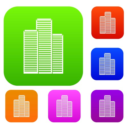 Skyscrapers in Singapore set icon in different colors isolated vector illustration. Premium collection