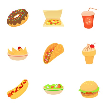 Snack icons set. Cartoon set of 9 snack vector icons for web isolated on white background