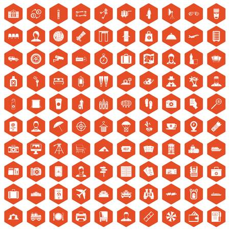 flippers: 100 passport icons set in orange hexagon isolated vector illustration