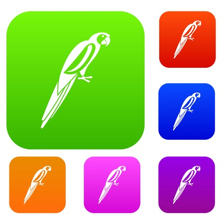 aviary: Parrot set icon in different colors isolated vector illustration. Premium collection