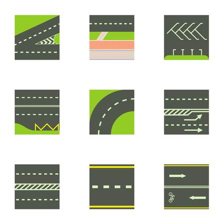 Urban road icons set. Cartoon set of 9 urban road vector icons for web isolated on white background Çizim