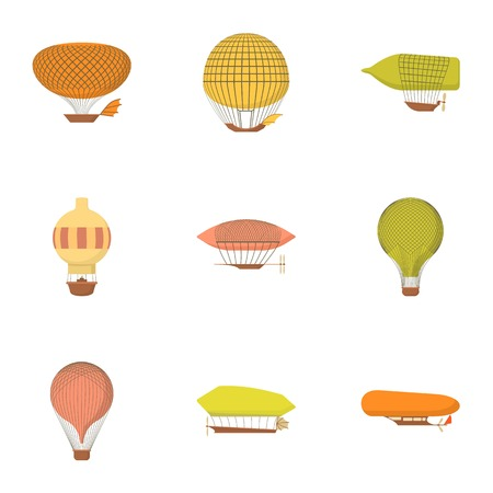 Aircraft icons set. Cartoon set of 9 aircraft vector icons for web isolated on white background Ilustração