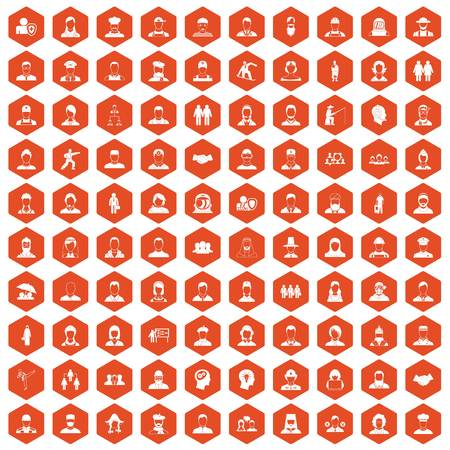 simple girl: 100 people icons set in orange hexagon isolated vector illustration