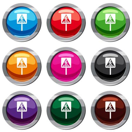 Pedestrian sign set icon isolated on white. 9 icon collection vector illustration