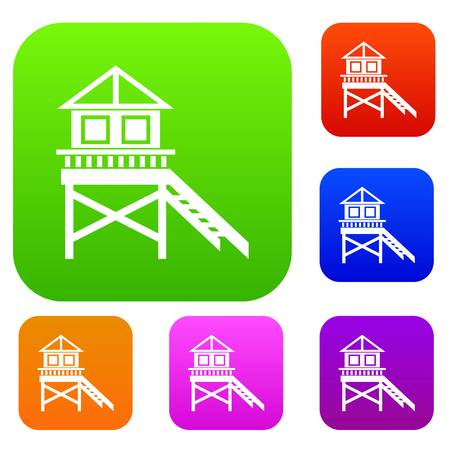 stilt: Wooden stilt house set icon in different colors isolated vector illustration. Premium collection Illustration