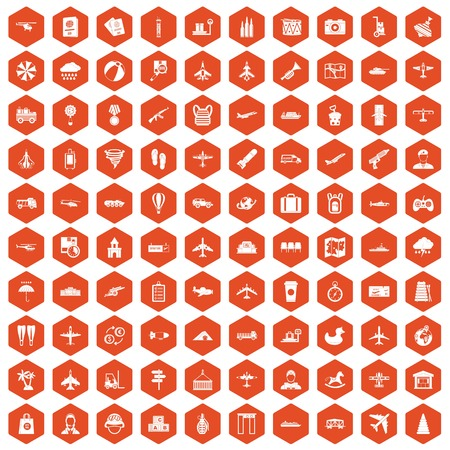 palm pilot: 100 plane icons set in orange hexagon isolated vector illustration Illustration