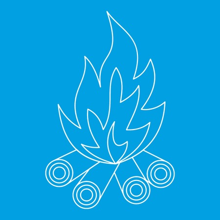 Bonfire icon blue outline style isolated vector illustration. Thin line sign