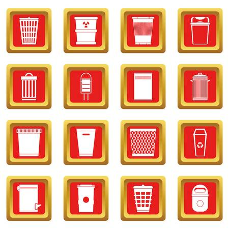 refuse: Trash can icons set red