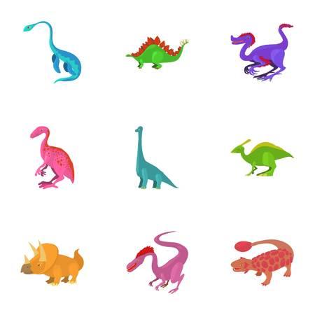 deinonychus: Different type of dinosaur icons set