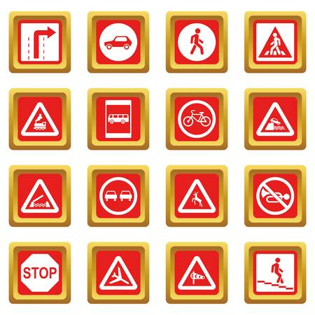Road Sign Set icons set red