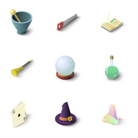 Wizard stuff icons set, isometric style