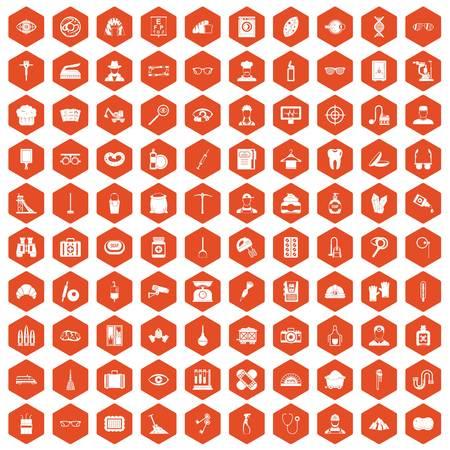 100 profession icons hexagon orange