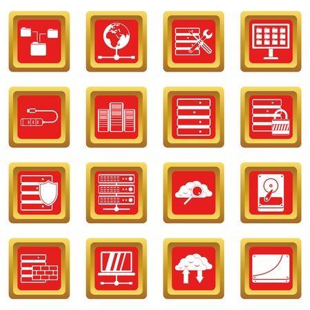 Database icons set red