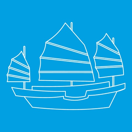 Chinese wooden sailing ship icon, outline style
