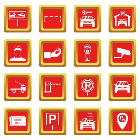 Parking set icons set red