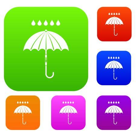 Paraplu en regendruppels instellen collectie