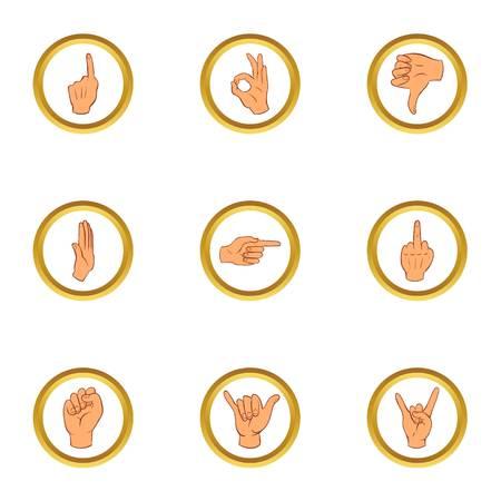 Popular gestures icons set, cartoon style