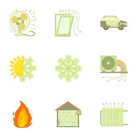 Cooling system icons set, cartoon style