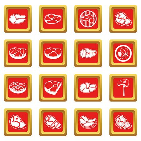 strip a cow: Steak icons set red Illustration