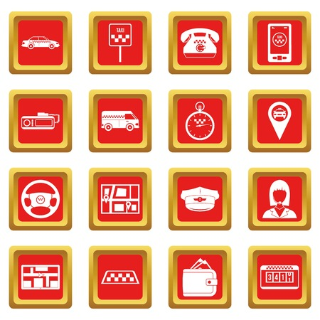steel industry: Taxi icons set red Illustration
