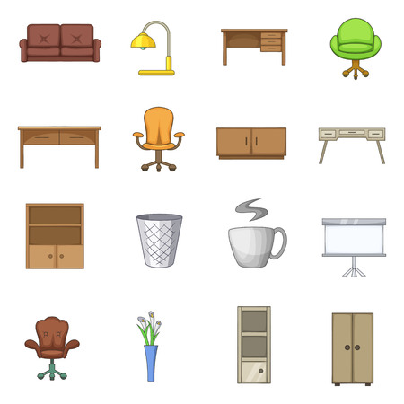 home office interior: Office furniture interior icons set. Cartoon illustration of 16 office furniture interior vector icons for web