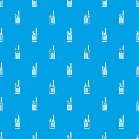 Portable handheld radio seamless pattern in blue color background.